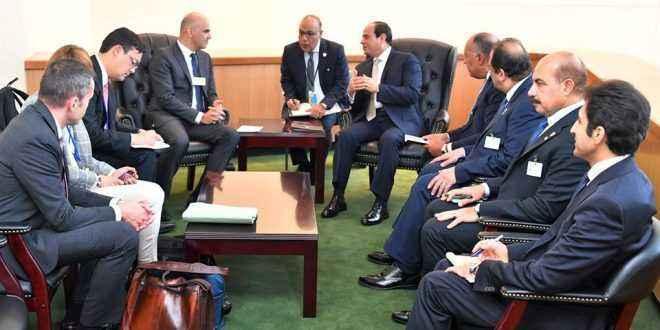 «السيسي» يبحث مع رئيس الاتحاد السويسري التعاون الاقتصادي والتجاري